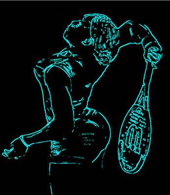 Serena Williams Digital Art - Serena Glowing Catsuit II by Brian Reaves