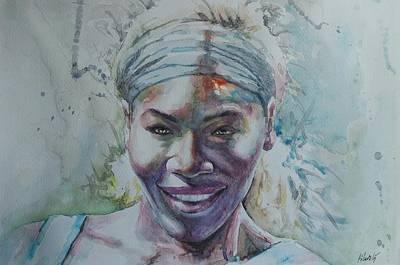 Serena Williams Painting - Serena Williams - Portrait 1 by Baresh Kebar - Kibar