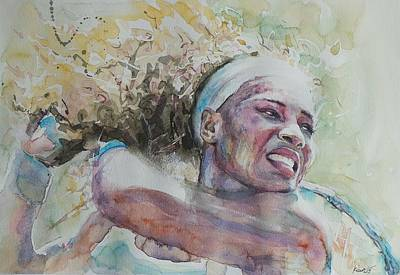 Serena Williams Painting - Serena Williams - Portrait 2 by Baresh Kebar - Kibar