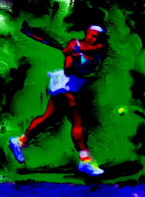 Serena Williams Painting - Serena Williams Powerful Return by Brian Reaves