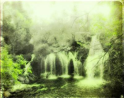 Serene Green Falls Print by Gothicolors Donna Snyder