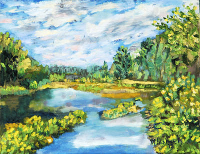 Impressionistic Landscape Painting - Serene Pond by Michael Daniels