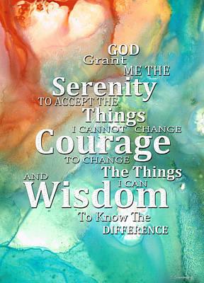 Serenity Prayer 1 - By Sharon Cummings Print by Sharon Cummings