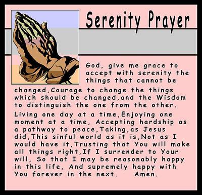 The Lord Himself Will Descend Digital Art - Serenity Prayer by Barbara Snyder