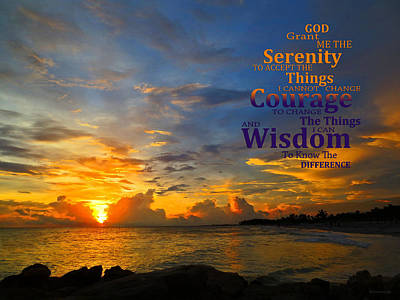 Serenity Prayer Sunset By Sharon Cummings Print by Sharon Cummings