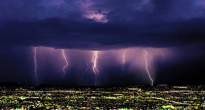 Thunderhead Photograph - Series Of Cloud-to-ground Lightning by Thomas Wiewandt