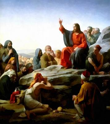 Sermon On The Mount Watercolor Print by Carl Bloch