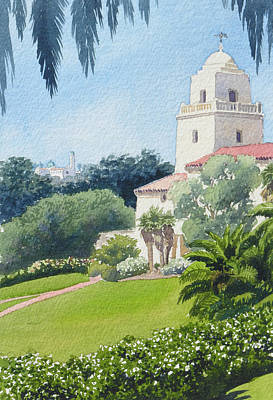 Harvard Painting - Serra Museum And Usd by Mary Helmreich
