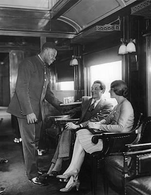 Negro Photograph - Serving Cocktails On A Train by Underwood Archives