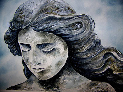 Statue Portrait Painting - Set In Stone by Brenda Owen