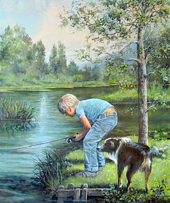 Summer Fun Painting - Seth And Spiky Fishing by Donna Tucker