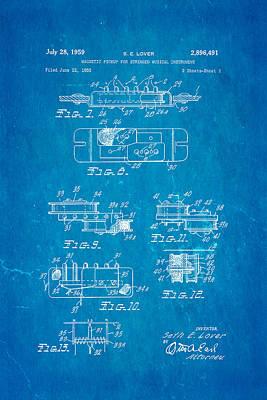 Seth Lover Gibson Humbucker Pickup 2 Patent Art 1959 Blueprint Print by Ian Monk