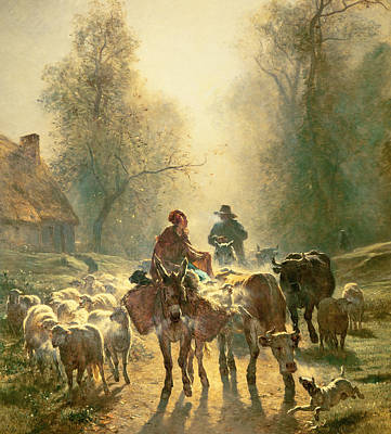 Dog Trots Painting - Setting Off For Market by Constant-Emile Troyon