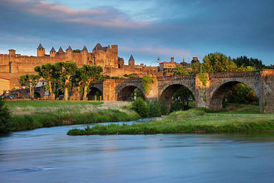 Languedoc Photograph - Setting Sunlight Over Town by Brian Jannsen