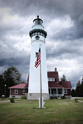 Seul Choix Point Lighthouse In Michigan Print by Randall Nyhof