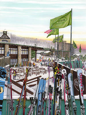 Pennsylvania Drawing - Seven Springs Mountain Resort by Albert Puskaric