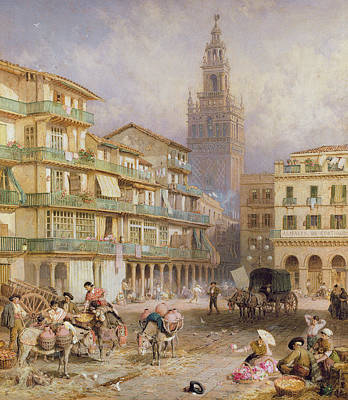 Donkey Drawing - Seville by Myles Birket Foster