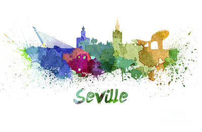 Seville Painting - Seville Skyline In Watercolor by Pablo Romero