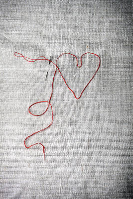 Handcrafted Photograph - Sewing A Heart by Joana Kruse