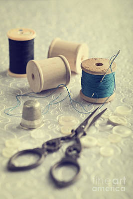 Sewing Cotton Print by Amanda Elwell