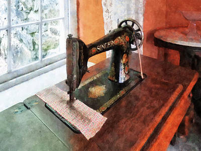 Sewing Machine Near Lace Curtain Print by Susan Savad