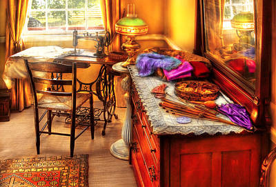 Custom Mirror Photograph - Sewing Machine  - The Sewing Room by Mike Savad