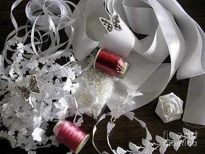 Bead Embroidery Photograph - Sewing Project In White And Red by Ausra Huntington nee Paulauskaite