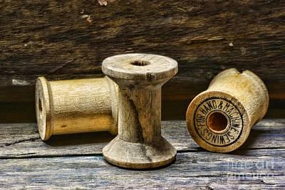 Sewing Vintage Wood Spools Print by Paul Ward