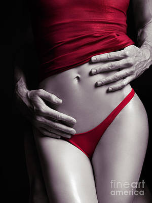 Hands Photograph - Sexy Couple Man Hands Embracing Woman In Red by Oleksiy Maksymenko
