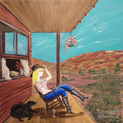 Sexy Cowgirl Sitting On A Chair At High Noon Original by John Lyes
