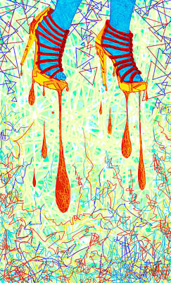 Sexy High Heels Gold Abstraction Print by Kenal Louis