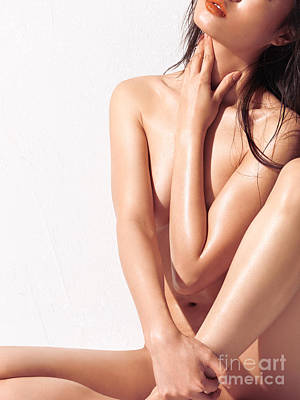 Sexy Nude Asian Woman With Shiny Skin Print by Oleksiy Maksymenko