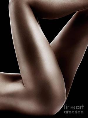 Sexy Nude Woman Legs On Black Print by Oleksiy Maksymenko
