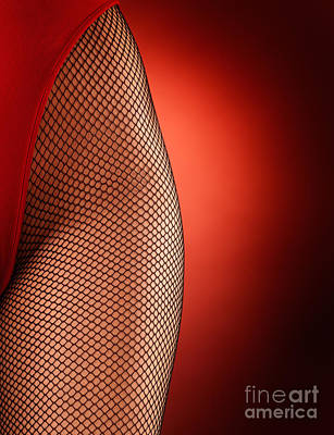 Suggestive Photograph - Sexy Woman Hips In Fishnet  by Oleksiy Maksymenko