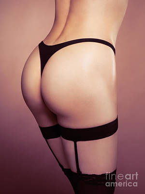 Ass Photograph - Sexy Woman Wearing Stockings With Suspenders Closeup by Oleksiy Maksymenko