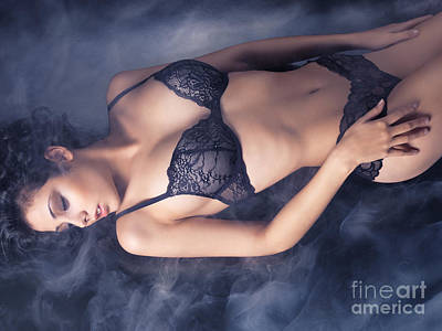 Lingerie Photograph - Sexy Young Woman In Black Lace Lingerie Lying On The Floor by Oleksiy Maksymenko