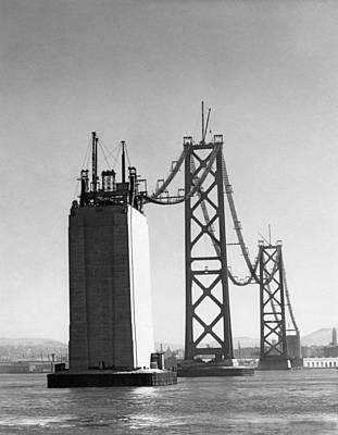 Sf Bay Bridge Construction Print by Charles Hiller