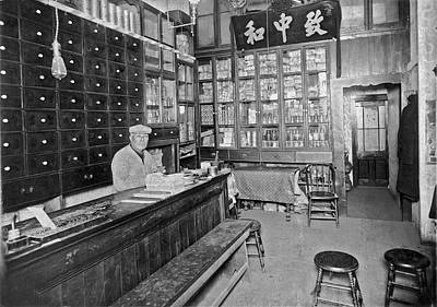 1800s Photograph - Sf Chinese Apothecary by Underwood Archives