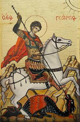Sf. George And The Dragon Original by Sorin Apostolescu