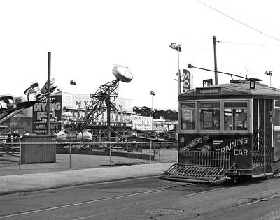 Sf Streetcar At Playland Print by Underwood Archives