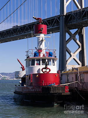 Fireboat Photograph - Sffd Guardian Fireboat Number 2 At The Bay Bridge On The Embarcadero Dsc01843 by Wingsdomain Art and Photography