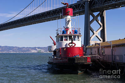 Fireboat Photograph - Sffd Guardian Fireboat Number 2 At The Bay Bridge On The Embarcadero Dsc01844 by Wingsdomain Art and Photography