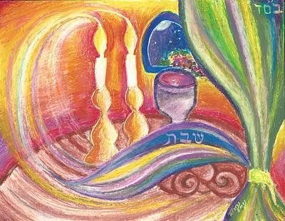 Kiddush Pastel - Shabbat Candles Glow by Tiferes Emes Perluss