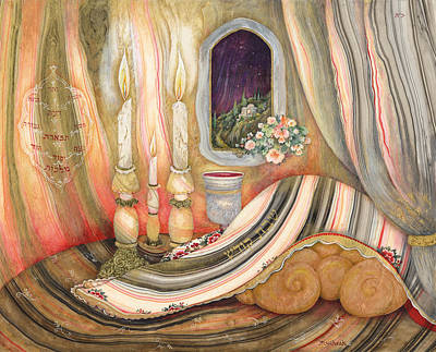 Kiddush Painting - Shabbat by Michoel Muchnik