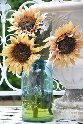 Shabby Chic Autumn Fall Yellow Sunflowers In Mason Ball Jar - Vintage Flowers Mason Jar  Print by Kathy Fornal