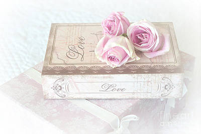 Shabby Chic Cottage Chic Dreamy Pastel Pink Cottage Roses With Romantic Love Pink Books Print by Kathy Fornal