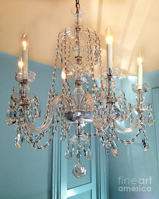 Crystals Photograph - Shabby Chic Cottage Sparkling White Crystal Chandelier Photo - Dreamy Parisian Crystal Chandelier  by Kathy Fornal