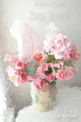 Impressionistic Art Photograph - Shabby Chic Dreamy Pink Peach Impressionistic Romantic Cottage Chic Paris Floral Art Photography by Kathy Fornal