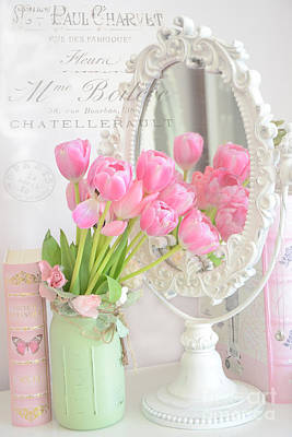 Pink Tulips Photograph - Shabby Chic Tulips Reflection In Mirror - Dreamy Romantic Cottage Pink Tulips Floral Art by Kathy Fornal