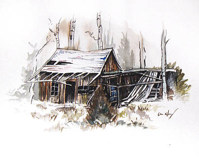 Ghost Towns Drawing - Shack by Aaron Spong
